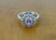 Pink and Clear Cubic Zirconia Stones Sterling Silver 925 Cluster Ring Size 7