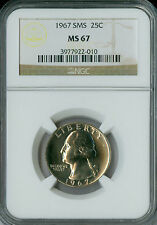 1967 WASHINGTON QUARTER NGC MS67 SMS .