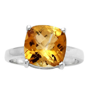 Faceted Natural Citrine 925 Sterling Silver Ring s.7 Jewelry E382