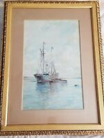 M Perrin Watercolor & on paper. Seascape, Sailboat, Steamship