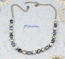 DENIM BLUE & PEARL 8mm Cup Chain Necklace made w/ Swarovski Pearls BLUE NECKLACE