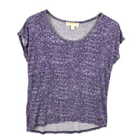 Michael Kors Floral Tee Shirt Size S Purple White Short Sleeve Stretch MK Logo
