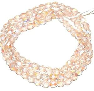 """CZ251 Light Rose AB Pink 4mm Fire-Polished Faceted Round Czech Glass Beads 16"""""""