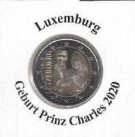 Luxemburg 2 € 2020, Geburt Prinz Charles Fotopräg. sofort lieferbar !