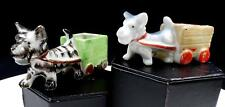 Japanese Ceramic 2 Pc Scottie Dog Pulling Carts 2 1/4 Planter Figurines