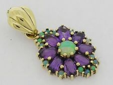 PE095- LUXURIOUS Genuine 9ct 9K Gold Natural AMETHYST & OPAL Enhancer Pendant