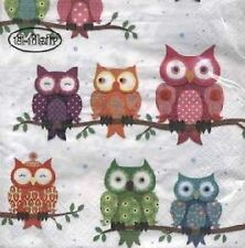 4 x Paper Napkins- Owls -Ideal for Decoupage / Napkin Art[1660920]