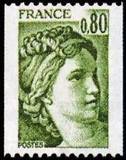 """FRANCE STAMP TIMBRE N° 1980 """" SABINE, ROULETTE 80c VERT """" NEUF xx LUXE"""