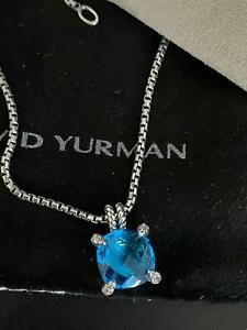 11mm David Yurman Chatelaine Pendant Necklace with Hampton Blue and Diamonds Box