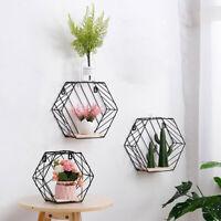 Iron+Wooden Grid Wall Unit Hanging Wire Shelf Rack Hexagon Storage Rack Holder