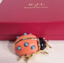 Vintage Kenneth Jay Lane Simulated Coral Duchess Ladybug Signed Pin/Brooch NOS