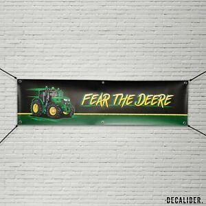 John Deere Fear The Deere Banner - Farming Garage Workshop Sign - Multiple Sizes