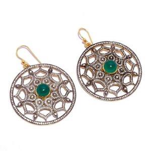 Handmade Natural Rose Cut Diamond Emerald Dangle Earrings Flower Shape Earrings