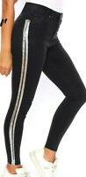 Damen Hose High-Waist Skinny Jeans Röhrenjeans Print Silber Schwarz XS-L