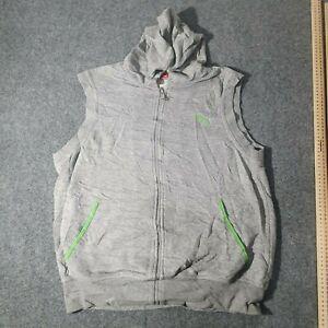 Puma Sweatshirt Mens MEDIUM GREY Jumper Sleeveless Hooded Full Zipper Size M