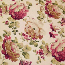 LIZ CLAIBORNE FLORAL POPPY CREAM PINK GREEN UPHOLSTERY CURTAIN FABRIC BTY 69A3