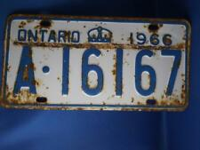 ONTARIO LICENSE PLATE 1966 A16167 CROWN VINTAGE CAR SHOP GARAGE  SIGN COLLECTOR