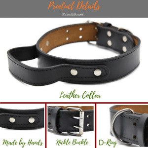 Leather Dog Collar With Handle For Dog Pet Control/Training Heavy Duty M L XL