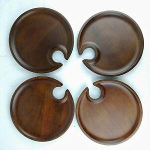 Set of 4 Pottery Barn Wood Mingling Plates Called 'Swood' w/Wine Stem Notch -A