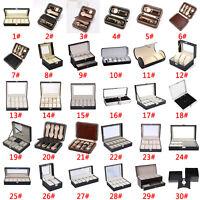 1-12Slots Watch Glasses Jewelry Display Box Bracelet Necklace Storage Case