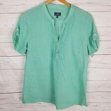 Sportscraft Top Size 12 Green Short Sleeve Cotton Silk Blend