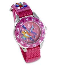 """""""Planes"""" Kinder Uhr Lernuhr rosa pink mit 3D Flugzeugen Klettarmband"""