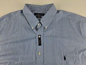NEW Ralph Lauren Cotton Stretch 2XLT Blue Striped Shirt Long Sleeve Button Down