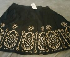 *NWT* SUNNY LEIGH BLACK w/ GOLD EMBROIDERY COTTON BOHO RUFFLED SKIRT SIZE 14W *