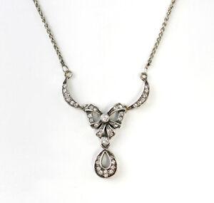 9901067-x 925er Silber Art déco Collier Schleife Swarovskisteine L42cm