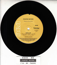 "POINTER SISTERS  Dare Me 7"" 45 rpm vinyl record + juke box title strip"