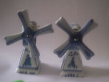 Vintage Blue & White delft style Ceramic Windmill Salt & Pepper Shakers 6cm