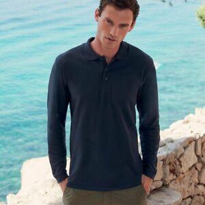 Polo manica lunga Uomo T-Shirt Da Lavoro Cotone FRUIT OF THE LOOM Premium