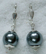 Perlen Silber 925 Ohrringe Muschelkernperlen 10 mm. grau Ohrhänger Brisur