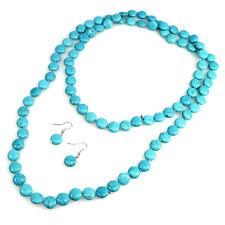 Luxury Women Girl Extra Long Beaded Turquoise Necklace Earrings Set Gift For Her