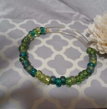 Alex and & Ani Green Sea Assorted Mix Beaded Gold Bangle Bracelet Rare