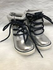 Tommy Hilfiger New Toddler Girls Regan Lace Up / Zip Silver Boots Size 8