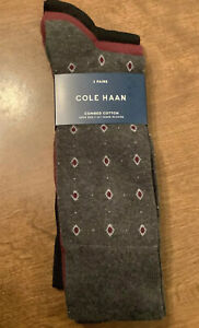 3 Pair Cole Haan Men's Combed Cotton Crew Dress Sock Large ~ 7-12 NWT