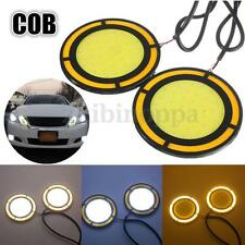 2x 65mm LED Car COB Round Daytime Running Light Fog Lamp Turn Signal Light DC12V