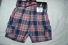 George Checked Cargo Shorts Red, White & Blue Age 1.5-2 Years (18-24 Mths) BNWT