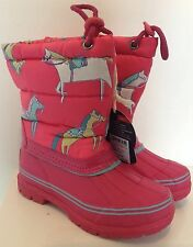 Joules Girls Printed Snow Boots Quilted Upper - Pink Horse Print - Size 12
