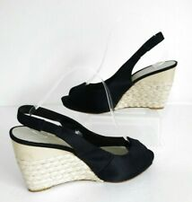 "❤ NINE WEST Size UK 7 (9W US) Black Satin Elasticated Sandals 4"" Wedges Heels"