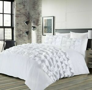 Percilla White Ruffled Bedding Set Duvet Quilt Cover With Pillowcase Polycotton