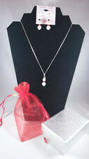 """925 STER. SILVER  -18"""" chain & pendant & ear rings ( Pearls/ Swaroski crystals"""