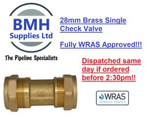 28mm Brass Single Check Valve Compression NON Return Valve. WRAS! Free Delivery!