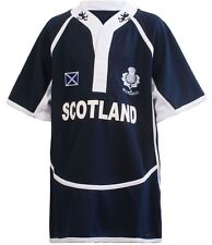 Boys Girls Cool Dry Style Rugby Shirt Scotland Navy Blue Scottish Top AGE 11-12