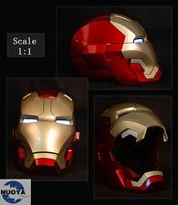 1:1 Wearable Roan  Iron Man MK42 Costume Mask Helmet Magnetic LED Ring Lighting