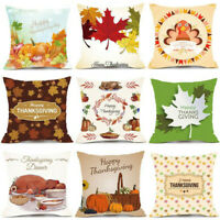 18'' Thanksgiving Pattern Sofa Decor Pillow Case Cotton Linen Cushion Cover