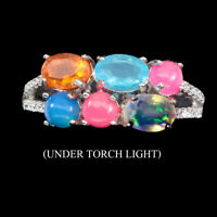 Oval Multi-Color Fire Opal 6x4mm Cz Gems 925 Sterling Silver Ring Size 8.5