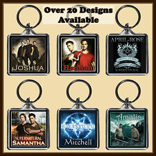 Personalised SuperNatural Key Ring - With Name - 4cm Square Keyring Chain - Gift