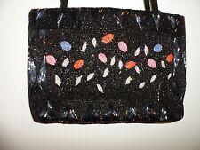 Handbag Shoulder Metallic Heavy Beaded Floral Black Shiny Unique Holiday Party
